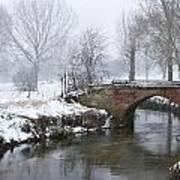 Bridge Over River In A Snowstorm Art Print