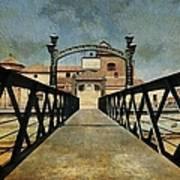 Bridge Over The River Guadalmedina In Malaga. Spain Art Print
