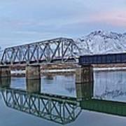Bridge Over Tranquil Waters In Kamloops British Columbia Art Print