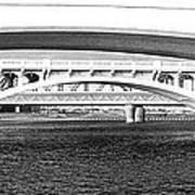 Bridge Panorama Black And White Art Print