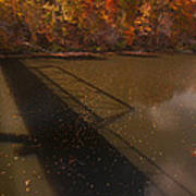 Bridge Shadow In Autumn On The  Duck River Tennessee Fine Art Prints As Gift For The Holidays  Art Print