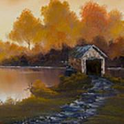 Covered Bridge In Fall Art Print