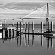 Bridge To Mount Pleasant - Black And White Art Print