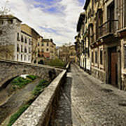 Bridges At Darro Street In Historic Albaycin In Granada Art Print
