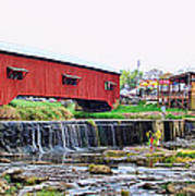 Bridgeton Mill And Covered Bridge Art Print
