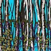 Bright Blue And Birch Art Print