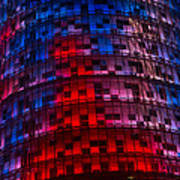 Bright Blue Red And Pink Illumination - Agbar Tower Barcelona Art Print