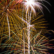 Bright Bursts Of Fireworks Art Print
