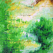 Bright Green Modern Abstract Garden Spirits By Chakramoon Art Print