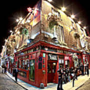Bright Lights Of Temple Bar In Dublin Ireland Art Print by Mark E Tisdale