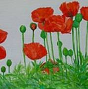 Red Poppies Colorful Flowers Original Art Painting Floral Garden Decor Artist K Joann Russell Art Print