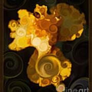 Bright Yellow Bearded Iris Flower Abstract Art Print