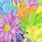 Brightly Coloured Flowers Art Print by Bav Patel