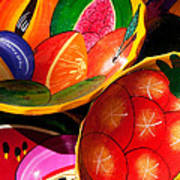 Brightly Painted Bowls At A Market - Mexico - Travel Photography By David Perry Lawrence Art Print