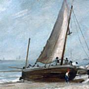 Brighton Beach With Fishing Boats Art Print
