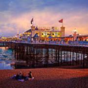 Brighton's Palace Pier At Dusk Art Print