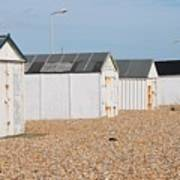 British Beach Huts In Sussex Art Print