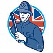 British Bobby Policeman Truncheon Flag Art Print