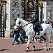 British Royal Guards Perform The Changing Of The Guard In Buckingham Palace Art Print