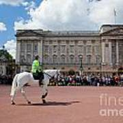 British Royal Guards Riding On Horse And Perform The Changing Of The Guard In Buckingham Palace Art Print