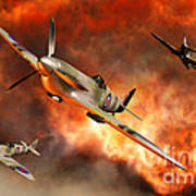 British Supermarine Spitfires Bursting Art Print