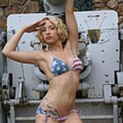 Brittany Usa Flag Bikini With Cannon Art Print