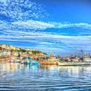 Brixham Devon England Uk English Harbour Summer Day With Blue Sky Traditional Coast Scene Art Print