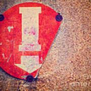 Broken Round Sign With Arrow Art Print