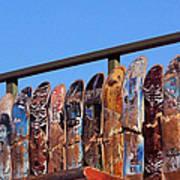 Broken Skateboard Fence Art Print
