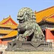 Bronze Lioness Forbidden City Beijing Print by Colin and Linda McKie