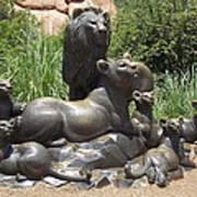Bronze Pride Of Lions Art Print