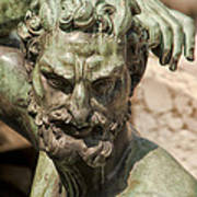 Bronze Satyr In The Fountain Of Neptune Of Florence Art Print