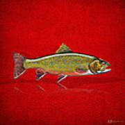 Brook Trout On Red Leather Art Print
