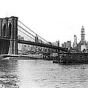 Brooklyn Bridge And Ny Skyline Art Print