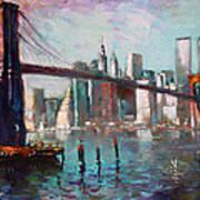 Brooklyn Bridge And Twin Towers Art Print