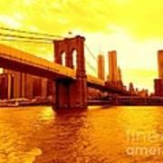Brooklyn Bridge In Yellow Art Print