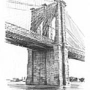 Brooklyn Bridge Pencil Drawing Art Print