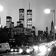 Brooklyn Bridge Traffic II Dusk 1980s Art Print