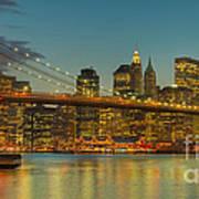 Brooklyn Bridge Twilight Panoramic Art Print