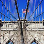 Brooklyn Bridge With American Flag Art Print