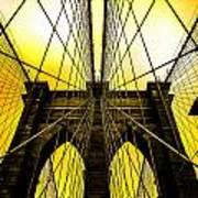 Brooklyn Bridge Yellow Art Print