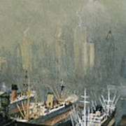 Brooklyn Harbor Circa 1921  Art Print