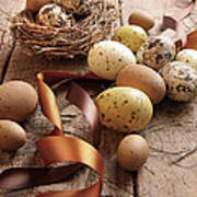 Brown And Yellow Eggs With Ribbons For Easter Art Print