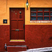 Brown Door In Mexico Art Print