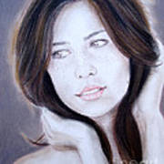 Brown Haired And Lightly Freckled Beauty Art Print