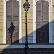 Brown Shutter Doors And Street Lamp - New Orleans Art Print