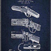 Browning Rifle Patent Drawing From 1921 - Navy Blue Art Print