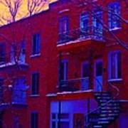 Brownstones In Winter 6 Art Print