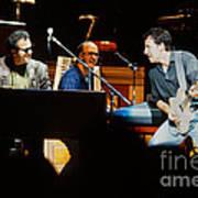 Bruce Springsteen Billy Joel And Paul Schaffer Art Print