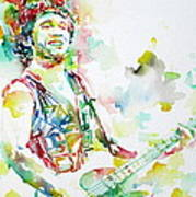 Bruce Springsteen Playing The Guitar Watercolor Portrait.2 Art Print